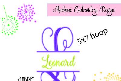 Fancy VINE SPLIT MONOGRAM Embroidery Font Design, monogram frame, 5x7
