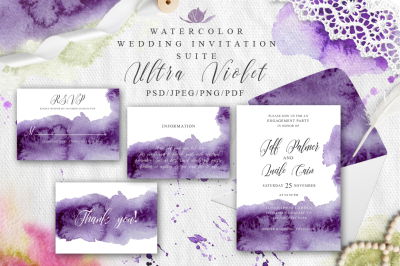 Ultra Violet Watercolor Wedding Invitation suite
