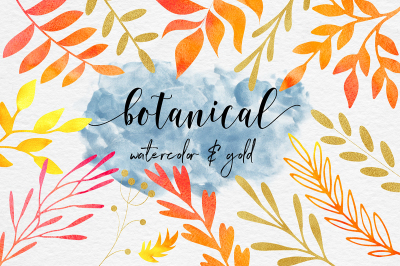 Watercolor & Gold Botanical Clipart