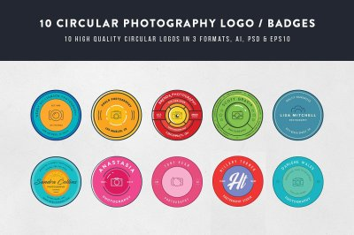 10 Circular Photography Logos/Badges