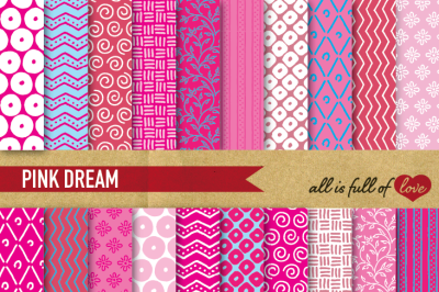 Hand drawn Pink Digital Paper Pack: Dream Collection