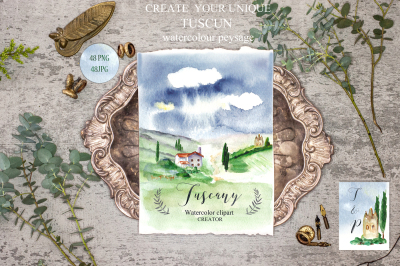 Tuscany Italy Watercolor maps & food UPDATE 2019