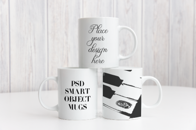 Mockup cup coffee 3 multiple mug mock up three mugs psd smart mockups
