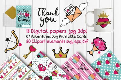 Digital papers valentines day, Printable Cards, valenti