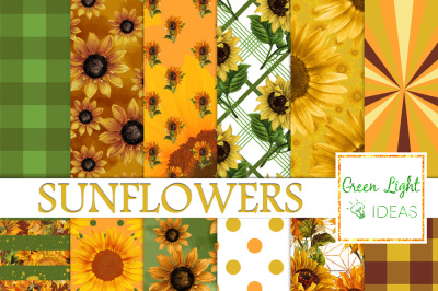 Sunflower Digital Papers, Floral Backgrounds
