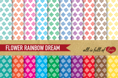 Hand draw Flowers Digital Paper Pack: Dream Collection