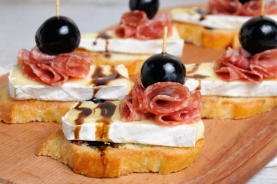 Snack with   Cheese Brie  and salami