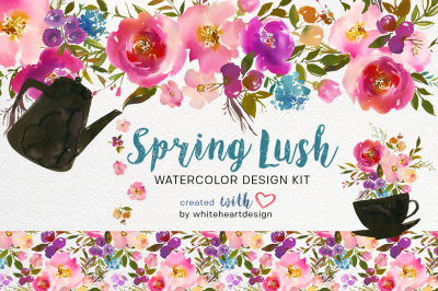 Spring Lush  Spring Watercolor Floral Design Kit