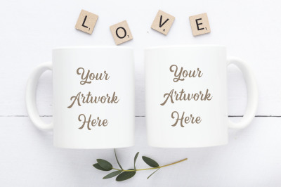 Double Mug Mockup -LOVE
