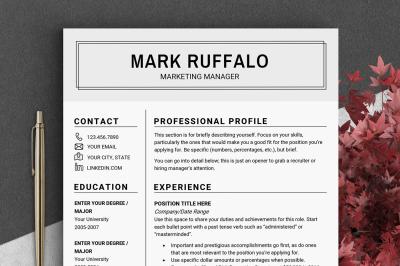 2 page resume template CV basic resume Word Resume man mens resume US