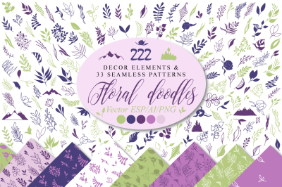 Floral doodle icons and design elements, semless patterns vector decor