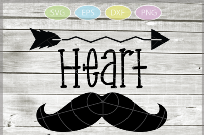Heart breaker with mustage and arrow svg - Heart svg - Valentine's day