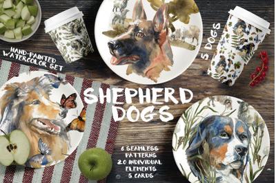 Shepherd dogs watercolor set