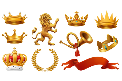 Gold crown. Coats of arms. Red flags and ribbons. Vector icon set
