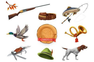 Hunting and fishing set. Vector icon