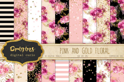Pink and Gold Floral Digital Paper