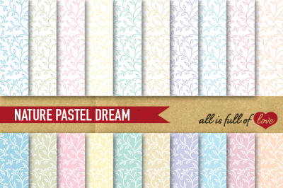 Hand draw Leafs Digital Paper Pack: Dream Collection