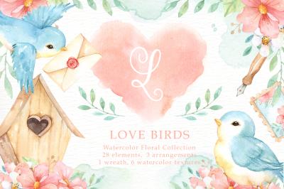 Love Birds Watercolor Cliparts