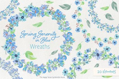 Spring Serenity Wreath Flower Clipart, Wreaths, Vectors, Graphics, Flo
