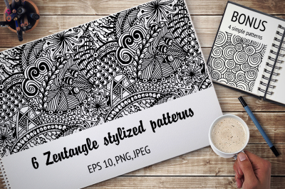 Zentangle stylized patterns