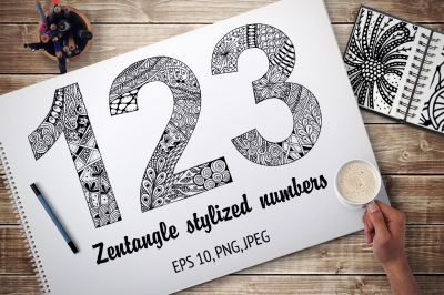 Zentangle stylized numbers