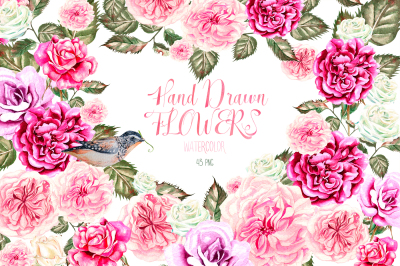 Hand Drawn Watercolor Flowers 43 PNG&VECTOR