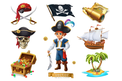 Pirates set. 3d vector icon