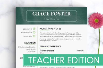 Teacher Resume Template / Teacher CV