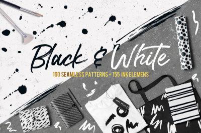 Black&White patterns + ink elements