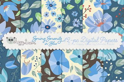 Spring Serenity Seamless Pattern Designs and Digital Papers, Flower, F