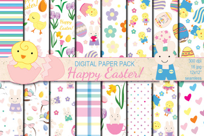 Happy Easter seamless digital paper pack
