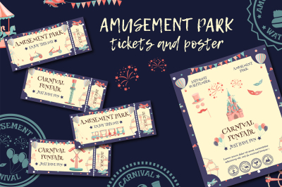 Amusement park tickets and poster.