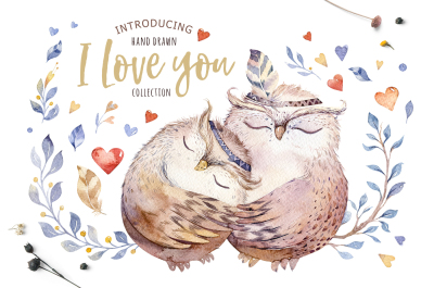 Love collection with owls
