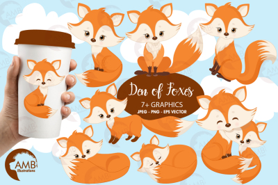 Den of Foxes clipart, graphics, illustrations AMB-1346