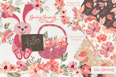 Spring Serenity in Peach Flower Clipart, Wreaths, Seamless Pattern Des