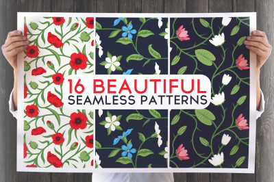 16 Beautiful Floral Seamless Patterns