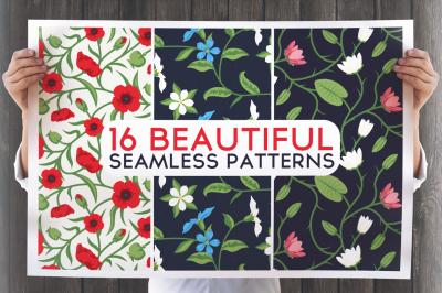 16 Beautiful Floral Seamless Patterns