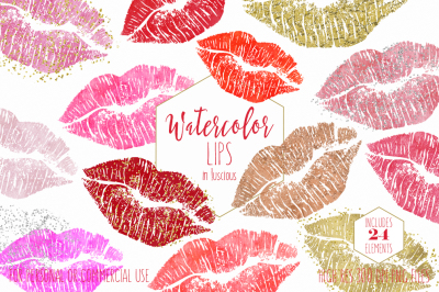 Watercolor Lips Kissing Lipstick Smear Makeup Blog Clipart