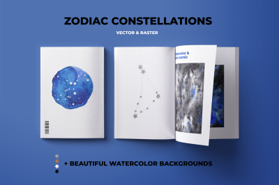 ZODIAC CONSTELLATIONS + watercolor backgrounds