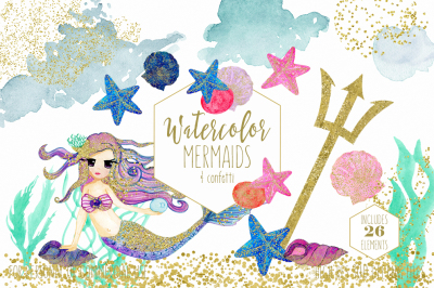 Cute Watercolor Mermaids with Gold Ocean Beach Graphics