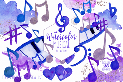 Watercolor Music Clipart Royal Blue Purple Musical