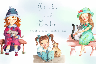 Watercolor Girls & Cats