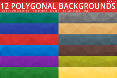 12 High Resolution Polygonal Backgrounds