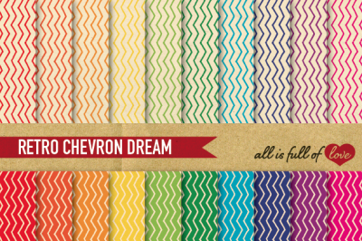 Vintage Hand draw Chevron Digital Paper Rainbow