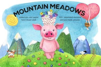 Mountain Meadows - watercolor set