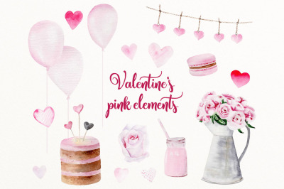 Valentines pink clip art elements