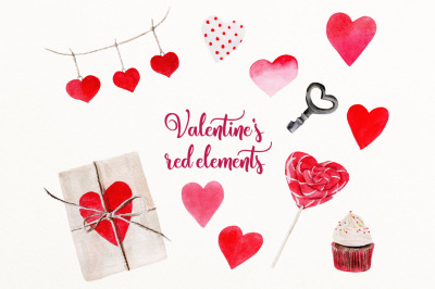 Valentines red clip art elements
