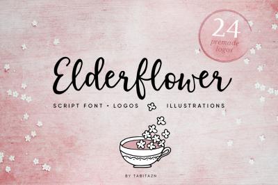 Elderflower script font + logos
