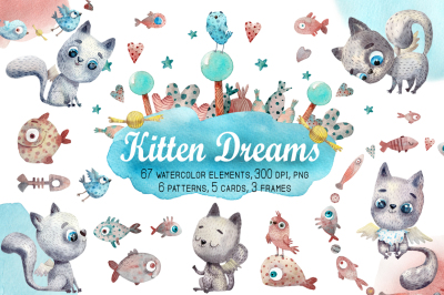 Kitten Dreams - Watercolor Clip Art Set
