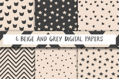 dark grey and beige patterns, digital paper